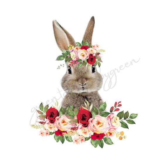Sublimation graphic PNG Clipart Instant Digital Download Sunflower Bunny Rabbit Bunny Sublimation Design