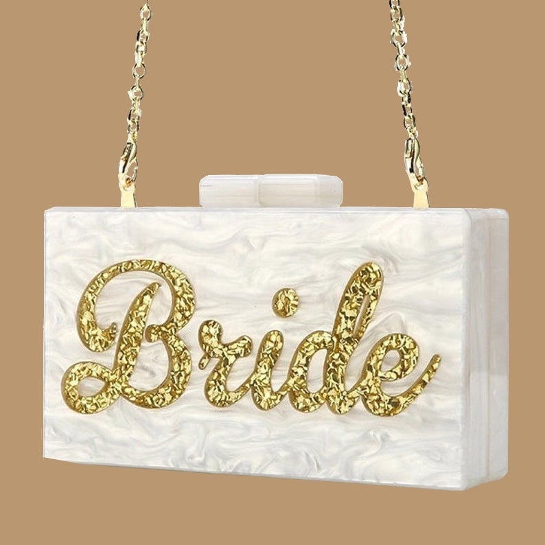 Pearl Acrylic /& Gold Glitter Personalised Bride Clutch Bag. Beautiful