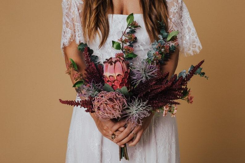Ageratum Houstonianum and Amaranthus Wedding bouquet Beautiful Silk Eucalyptus Faux Emperor Wild /& Bohemian