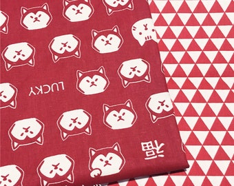 Red lucky dog fabric