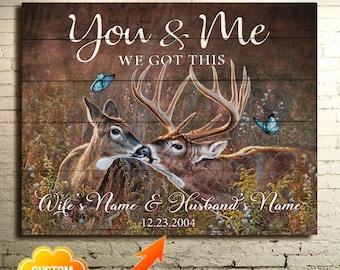 Deer You /& Me We Got This Satin Landscape Poster