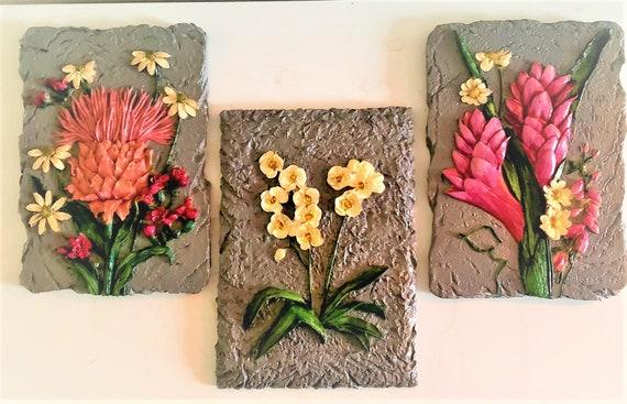 Floral Plaque Trio (click for more views)