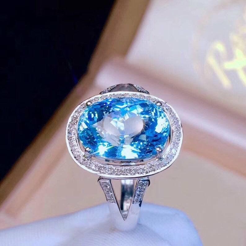 Topaz Oval Ring Natural Topaz Ring Topaz Ring Topaz Silver Ring 925 Sterling Silver Bridal Shower Ring Blue Topaz Ring Gift For Her