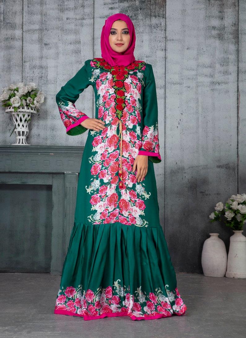 Dark green and pink Arabic Evening Abaya Dress