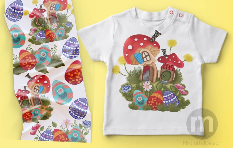 Easter clipartMushroom houses clipartSpring clipartForest houses clipartVintage GardenEaster eggs clipart instant digital download PNG