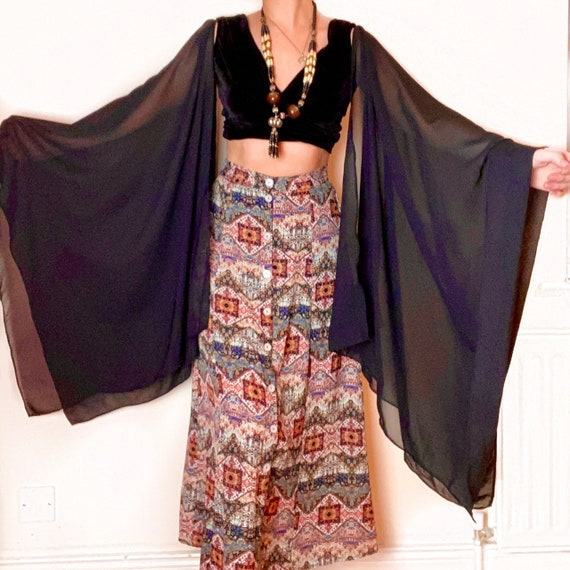 Vintage Black Velvet Gypsy Stevie Nicks Style Bohe