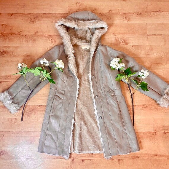 Faux Fur Beige/Brown PENNYLANE AFGHAN COAT