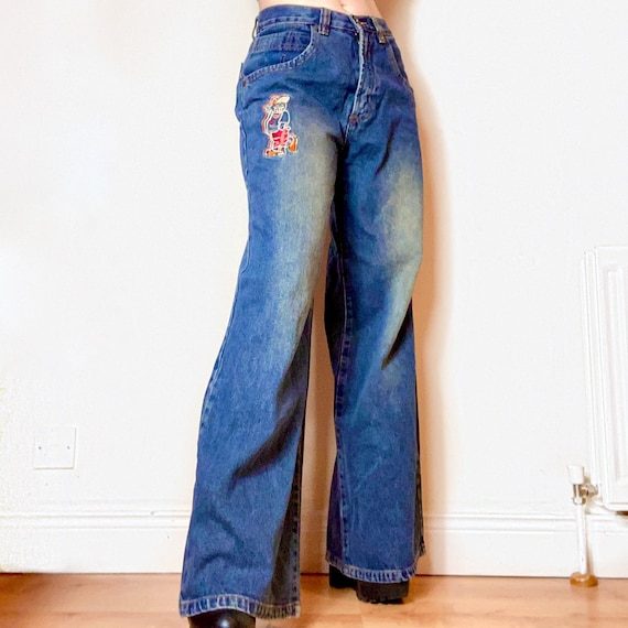 Genuine Vintage Embroidered Y2K BAGGY JNCO STYLE F