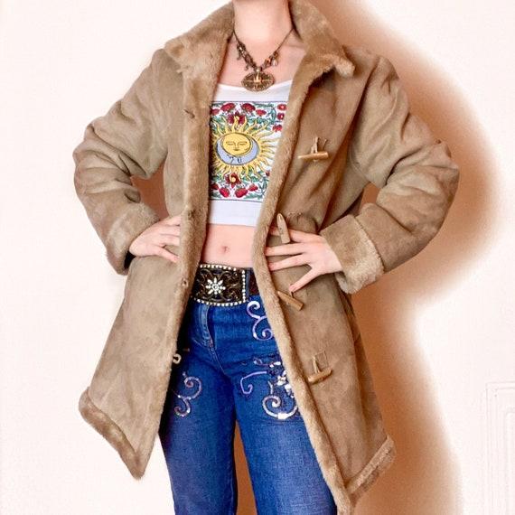 Vintage PENNYLANE Brown Faux Fur AFGHAN COAT.