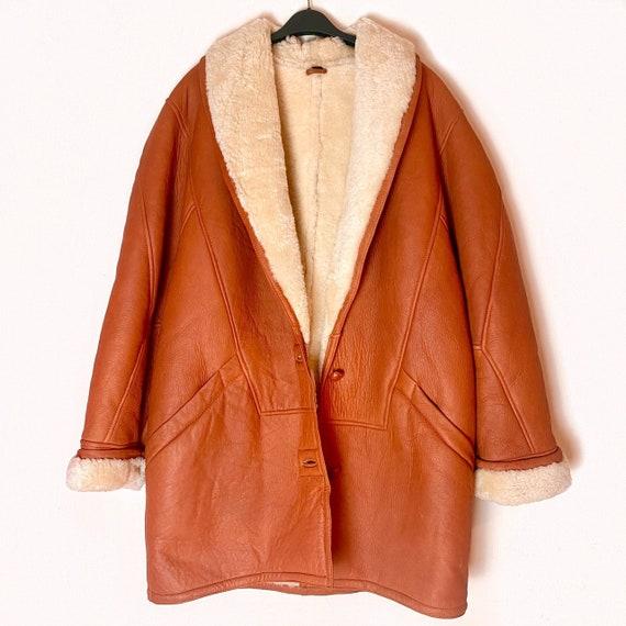 Mens Vintage Orange PENNYLANE Sheepskin AFGHAN Coa