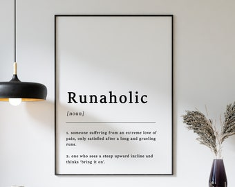 Definition of Runaholic Quote Poster Print, Running Poster, Jogging Print, Gift for Runner, Funny Poster, Typography, A1/A2/A3/A4