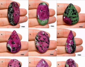 Ruby Zoisite Cabochon Flat Back Pear 17 x 28 x 6 mm One Side Polish Natural Ruby Zoisite Gemstone Jewelry Supplies #2737 Christmas