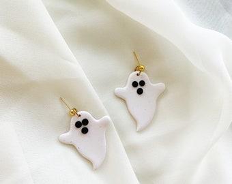 ghost earrings | polymer clay earrings, clay earrings, Halloween earrings, ghost earrings, lightweight jewelry, boo earrings, spooky szn