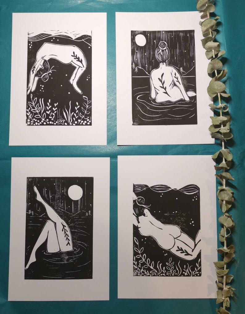 Water Art Moonlit Swim Skinny Dip Print Wild Swimmer Gift Mini Water Collection Lino Prints Wild Swimming Art Scottish Artist