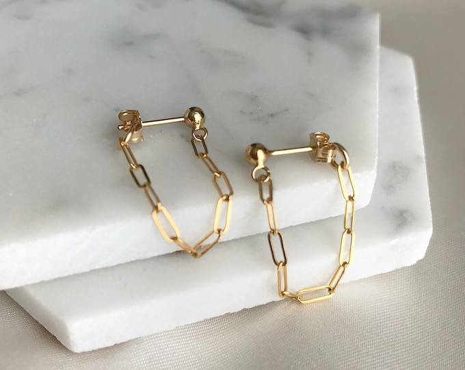 14k Gold Filled Paperclip Dangle Earrings Minimalist Earrings Chain Ear Jackets Front Back Earrings Chain earrings.