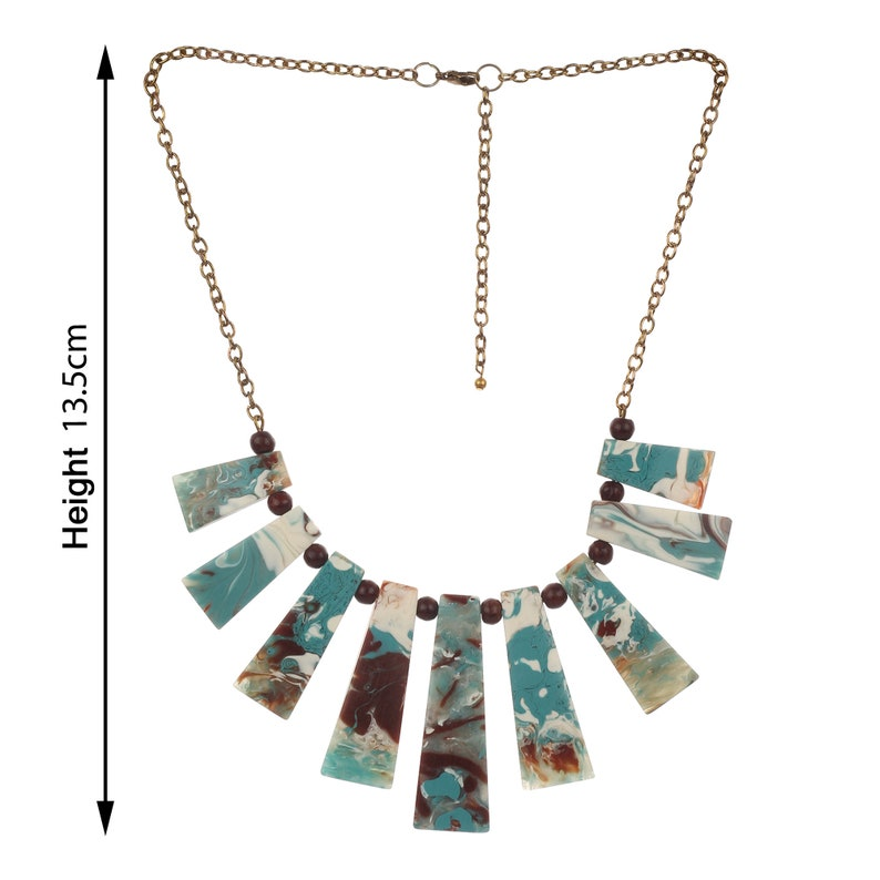 MENTHOME Vintage Designer Printed Colorful Resin Handmade Necklace with Golden Chain for Girls and Women Vintage Color Necklace