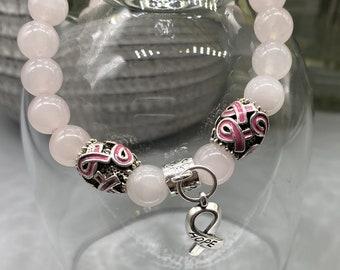 Breast Cancer Awareness Bracelet - Rose Quartz with 3 Charms