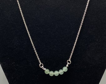 Genuine Aventurine Bar Necklace with Matching Earrings
