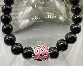 Breast Cancer Awareness Bracelet - Black Onyx - Unisex  - 1 Charm