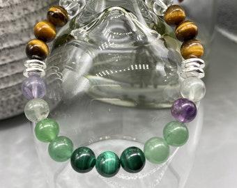 Mental Health Stones - Black Tourmaline, Rainbow Fluorite, Malachite, Aventurine, Tiger Eye