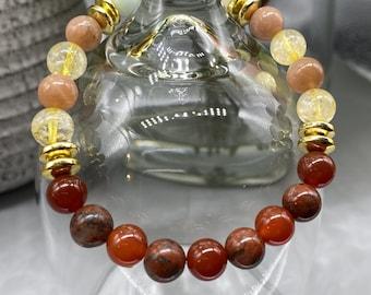 Low Self-Esteem Stones Gemstone Stretch Bracelet - Carnelian, Citrine, Sunstone, Amazonite, Red Jasper, Hematite