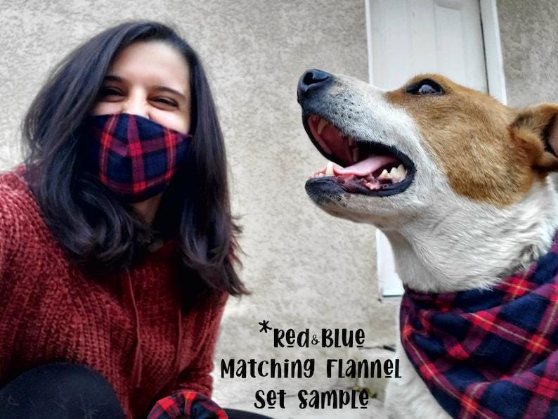 Square Pattern Women/'s Bandana Mask Scrunchie Headband Tshirt Set Matching Dog Owner Outfit Stylish Accessory Flannel Plaid Pocket