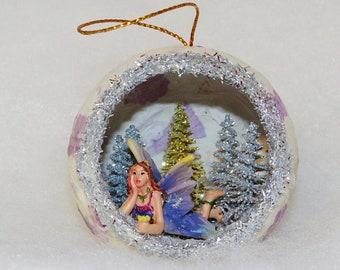 Fairy Christmas Ornament, Purple Snow Fairy, Fairy Diorama ornament, Christmas diorama ornament, Handmade Fairy Christmas Ornaments,