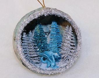 Handmade Dragon Ornament, Ice Dragon, Dragon Christmas Ornament, cute blue dragon, Diorama ornament, unique holiday ornament