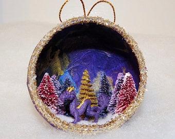 Handmade Dragon Ornament, Purple Dragon, Dragon Christmas Ornament, Chinese dragon, Diorama Ornament, unique holiday ornament