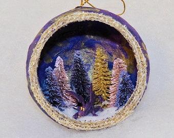 Handmade Dragon Ornament, Purple Dragon, Dragon Christmas Ornament, cute purple dragon, Diorama ornament, unique holiday ornament