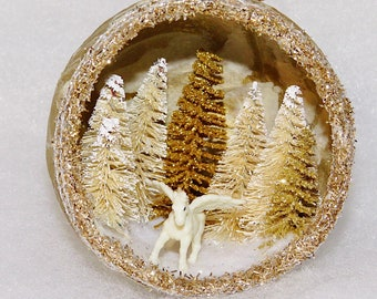 Handmade Pegasus Ornament, Pegasus Christmas Ornament, Diorama ornament, Cute Gold and white pegasus, unique holiday ornament