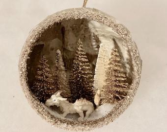 Handmade Dragon Ornament, Luck Dragon, Dragon Christmas Ornament, cute Gold dragon, Diorama ornament, unique holiday ornament