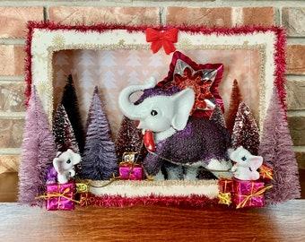 Kitsch Christmas Shadow Box, Vintage Christmas Diorama, Vintage Shadowbox, Retro Shadow box, Vintage Christmas Diorama, Elephant Gift