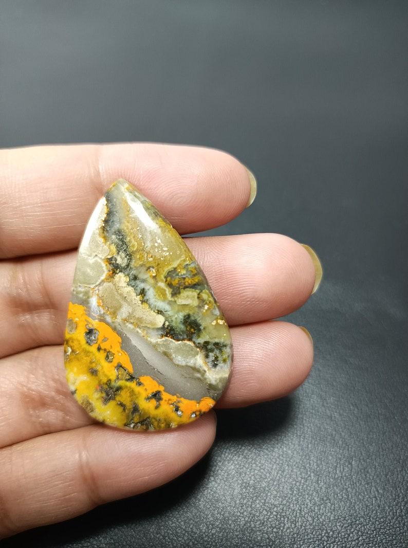 Bumble Bee Jasper Gemstone,Bumble Cabochon,Yellow Jasper Gemstone,Loose Gemstone,Natural Gemstone,Jewelry Making,40x27x5mm,42.30ct,MA95
