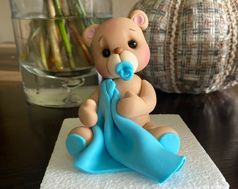 Fondant Teddy Bear Cake Topper, Teddy Bear Baby Shower, Boy Baby Shower, Baby Bear, Teddy Bear with Pacifier, First Birthday Teddy Bear