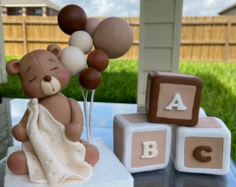 Teddy Bear with Balloon and Cubes Baby Shower, Fondant Teddy Bear Cake Topper, Baby Shower Cake Decoration, Baby Bear, ABC Cubes, Bear Party
