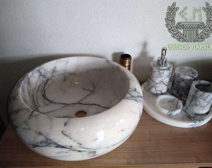 Lilac Roller Marble Sink, Handmade Bathroom Sink, Bathroom Sink Washbasin
