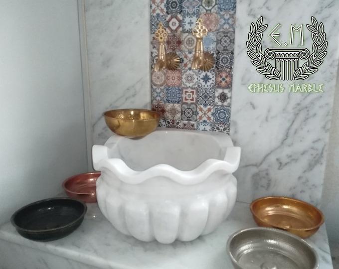 Turkish Bath Sink, Turkish Hammam Sink, Spa Sink, Flowering Melon Sliced White Pure Texture-2