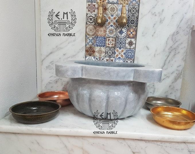 Turkish Bath Sink, Turkish Hammam Sink, Spa Sink, Spa Decor, Hamam Decor, Afyon Gray Marble Melon Sliced