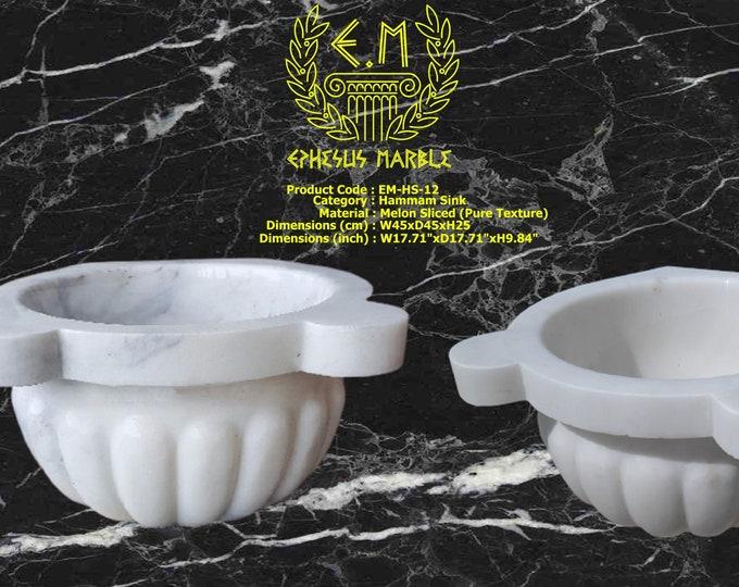 Turkish Bath Sink, Turkish Hammam Sink, Spa Sink, Spa Decor, Hamam Decor, Melon Sliced (Pure Texture)
