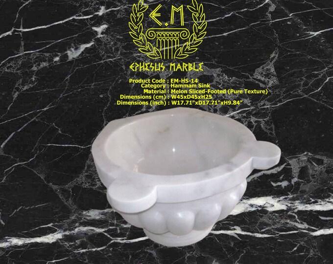 Turkish Bath Sink, Turkish Hammam Sink, Spa Sink, Spa Decor, Hamam Decor, Melon Sliced-Footed (Pure Texture)