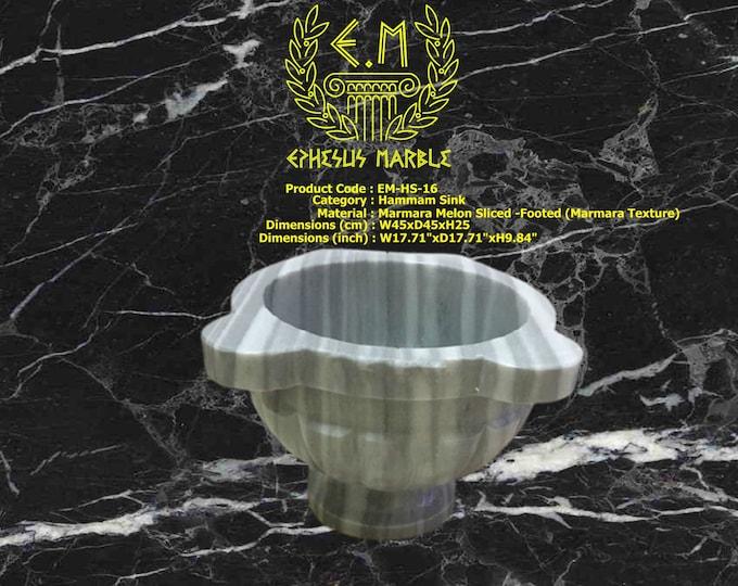 Turkish Bath Sink, Turkish Hammam Sink, Spa Sink, Spa Decor, Hamam Decor, Melon Sliced-Footed, Marmara Marble (Sperenza)