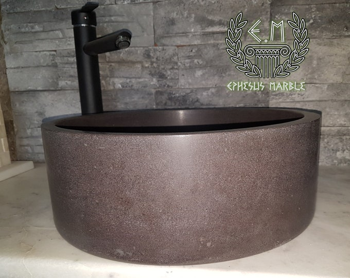 Black Basalt Stone Cylinder Sink, Handmade Bathroom Sink, Basalt Washbasin, Vessel Sink