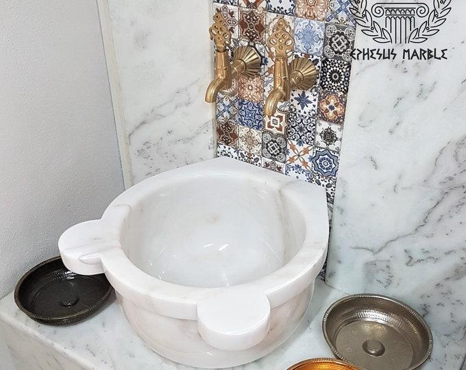 Turkish Bath Sink, Turkish Hammam Sink, Spa Sink, Turkish Hamam Sink, Classic White Marble Texture With Yellowish