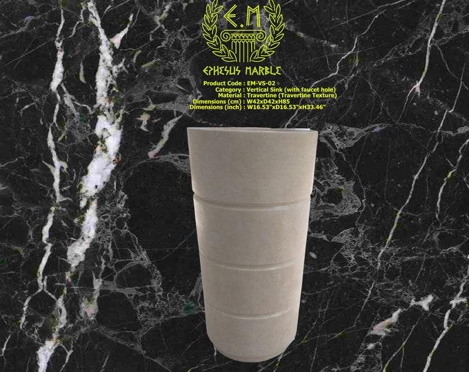 Travertine Vertical Marble Washbasin With Faucet Hole, Handmade Bathroom Pedestal Sink, Washbasin, Colon Vessel Sink