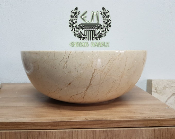 Beige Bowl Marble Sink, Handmade Bathroom Sink, Bathroom Sink Washbasin
