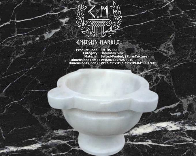 Turkish Bath Sink, Turkish Hammam Sink, Spa Sink, Turkish Hamam Sink, Belted-Footed Classic White Marble Texture