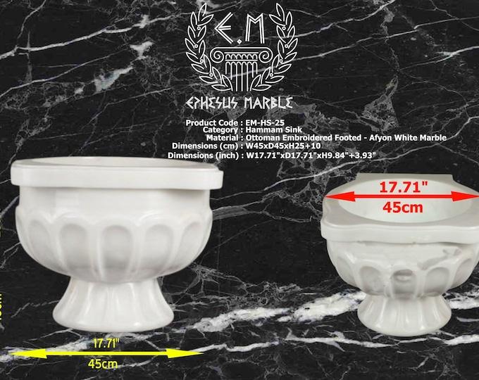 Turkish Bath Sink, Turkish Hammam Sink, Spa Sink, Ottoman Embroidered-Footed Afyon White Marble