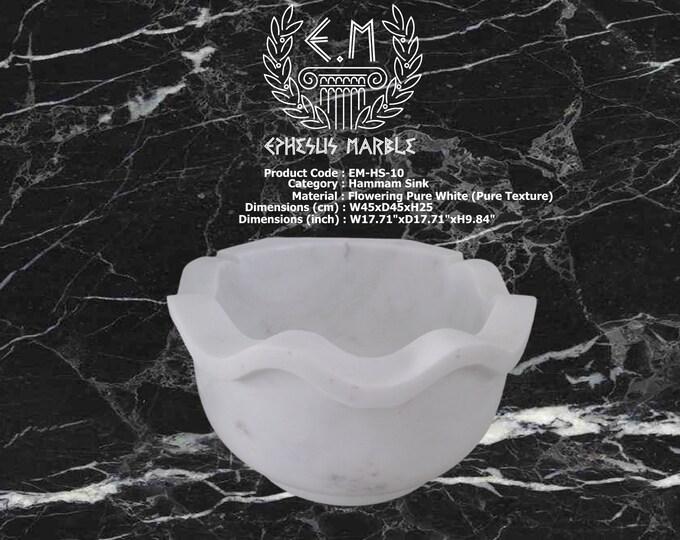 Turkish Bath Sink, Turkish Hammam Sink, Spa Sink, Turkish Hamam Sink, Flowering Pure Texture