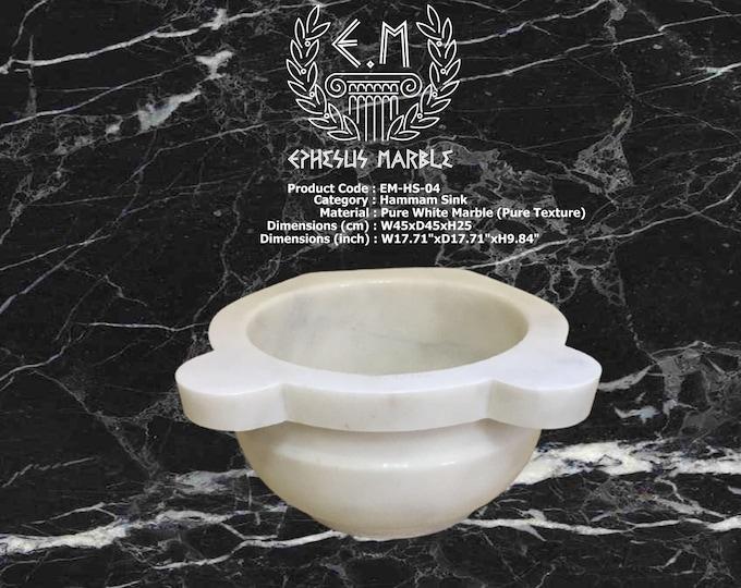 Turkish Bath Sink, Turkish Hammam Sink, Spa Sink, Turkish Hamam Sink, Hamam Decor, Belted Classic White Marble Texture